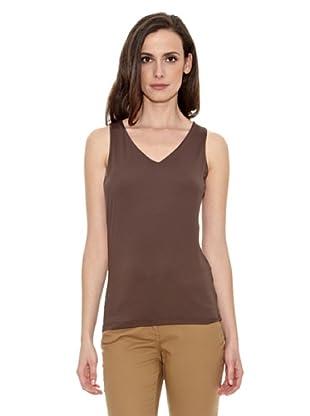 Cortefiel Camiseta Básica Tirante A (Marrón Oscuro)