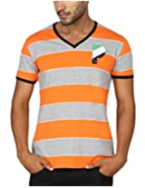 Paani Puri Men's V-Neck T-Shirt (MVNSSP43_Orange_X-Large)