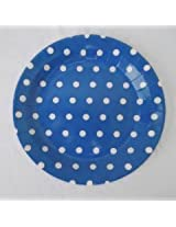 "9"" Polka Dots Plates 10 pc (Dark Blue) (Dark Blue)"