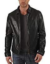 Iftekhar Men's Pure leather Jacket - Black - (Iftekhar40 - XL)