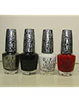 4 OPI Shatter Crackle Nail Polish Full Size White Red Silver Black New