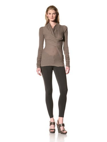 RICK OWENS Women's Cross Drape Cowl Neck Top (Dust)