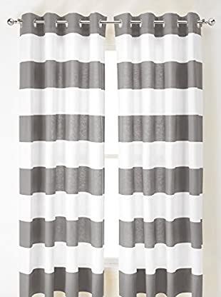 Nautica Cabana Stripe Curtain, Grey