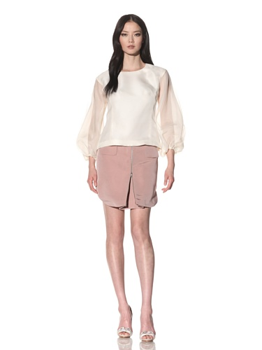 Bibhu Mohapatra Women's Lace Sleeve Top (Off white)