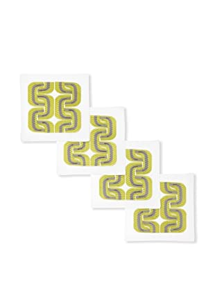 Trina Turk Set of 4 Geo Links Embroidered Cocktail Napkins (Citron/Grey)