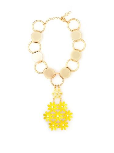 Tuleste Market Floral Pendant Necklace, Gold/Yellow