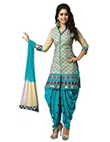 SGC Blue Cotton Embroidery unstitched churidar Patiyala (NKT-5012)