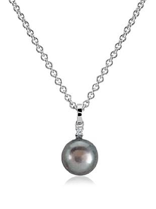 Divas Diamond Conjunto de cadena y colgante Diamond Black Perl plata de ley 925 milésimas