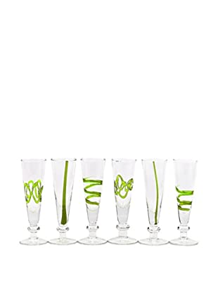 Crazy Cordial Hand-Crafted Glass, Green, Set of 6