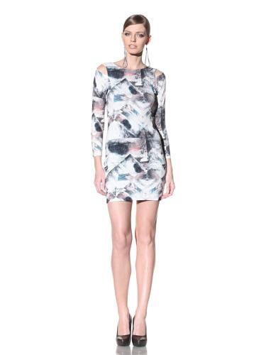 FACTORY by Erik Hart Women's Matte Jersey Long Sleeve Dress (Foil Print)