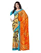 ANSS Elegant Faux Georgette Saree with Floral Print - Orange