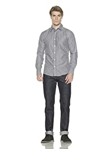 Just A Cheap Shirt Men's Striped Button-Front Shirt (Black/White)