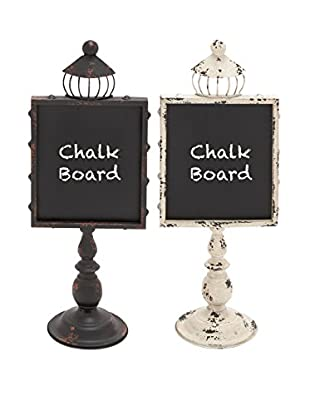 Set of 2 Chalkboards, Black/Silver