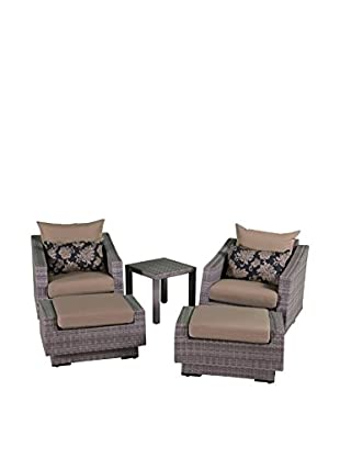 RST Brands Cannes 5-Piece Club Chair & Ottoman Set, Beige