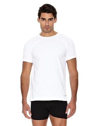Unno Camiseta Manga Corta Cuello Redondo Transpirable (Blanco)