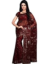 Magnificient Maroon Party Wear Saree Fancy Work Indian Net Sari