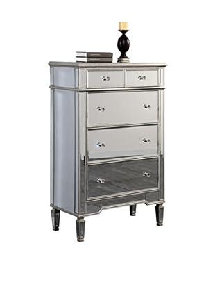Florentine 5-Drawer Cabinet, Silver Leaf/Clear Mirror