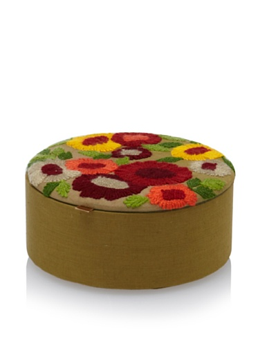 Purva Woolen Bliss Round Jewelry Box, Tan Ombre
