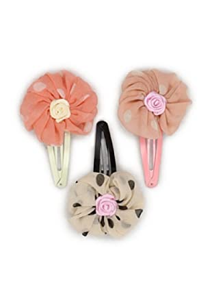 Liliella Pink and Beige Flower Hairclip Set