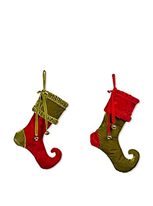 Winward Set of 2 Jingle Bell Stockings, Red/Green