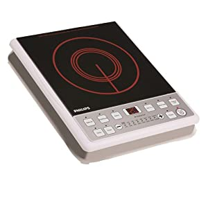 Philips HD4907 2100-Watt Induction Cooktop with Touch Button (Black/Red)