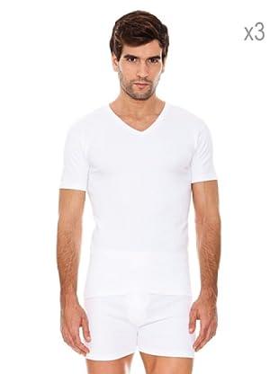 ABANDERADO Pack x 3 Camisetas Manga Corta Cuello Pico (Blanco)