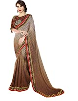 Shaded Brown Ethnic Wear Saree Heavy Embroidered Blouse Georgette Sari