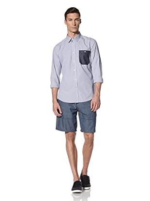 White Picket Fences Men's Shadow Hill Long Sleeve Woven Shirt (Light Blue Stripes)