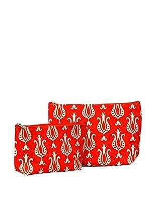 Rock Flower Paper 2-Piece Fleur de Lis Cosmetic Bag Set, Cayenne
