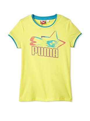 PUMA Girl's Glow Cat 2-Fer Crew Neck Tee (Lemon Lime)