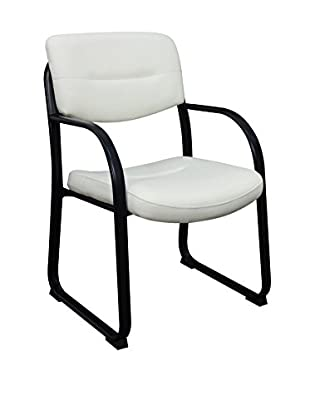 Regency Crusoe Leather Side Chair With Arms, White