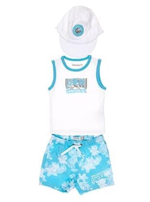 Timberland Kids Conjunto Camiseta + Bermudas + Gorro (blanco)