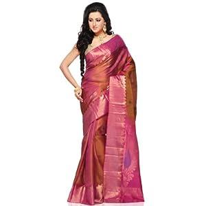 Pink Shot Tone Pure Kanchipuram Handloom Silk Saree with Blouse