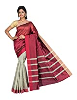 Korni Cotton Silk Banarasi Saree SHDEQ-314- Gray/Maroon KR0447