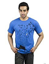 XTeeC Midnight Blue Printed Round Neck T-Shirt - Small