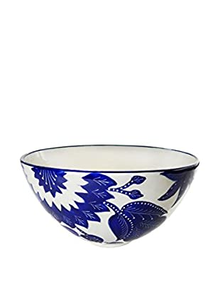 Le Souk Ceramique Jinane Deep Salad Bowl, Blue/White