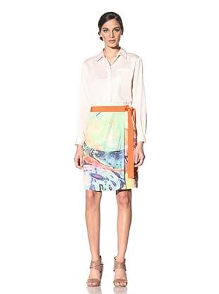 Philosophy di Alberta Ferretti Women's Printed Skirt with Tie Waist (Green/Yellow/Red)