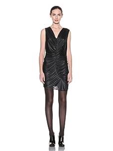 Poleci Women's Ruched Liquid Dress (Black)