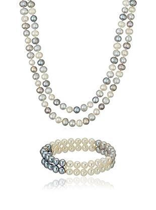 United Pearl Set collana e braccialetto argento 925