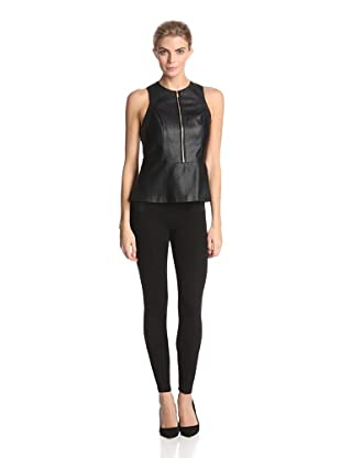 Calvin Klein Women's Perforated Faux Leather Peplum Top (Black)