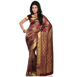 Utsav Fashion Kanchipuram Silk Saree beige