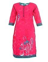 Artinic Hand Painted Women's Cotton Regular Fit Kurti (ARTK0053, Pink, 46)