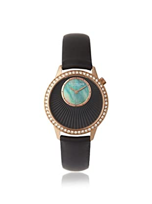 Stuhrling Original Women's 336.12451 Vogue Audrey Radiant Black/Rose Gold-Tone Mother of Pearl Subdial Watch
