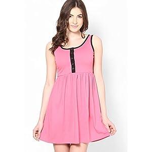 Pink Colored Solid Skater Dress Stilestreet