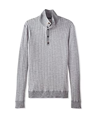 Thirty Five Kent Men's Merino Plaited Ribbed Button Mock