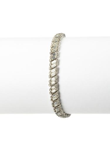 Lulu Frost 1920's Art Deco Single Strand Crystal Bracelet, Silver