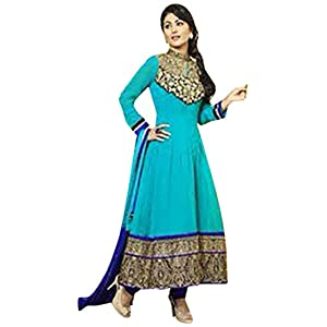 V And V Shop Akshara In 2014 Collection Of Cyan Anarkali Dress - SEM161-15003