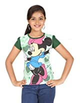 Disney Girls' Graphic Printed T shirt (0123920_Green_4-5 Years)