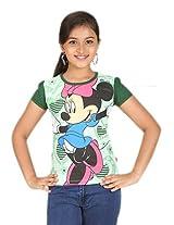 Disney Girls' Graphic Printed T shirt (0123926_Green_14)