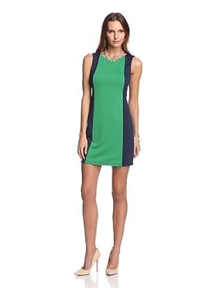 JB by Julie Brown Women's Cressida Colorblock Front Shift Dress (Navy Green Ponte)